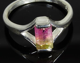 Natural Watermelon Multi Color Tourmaline 1.12 ct Handset in Sterling Ring  -  Fast Free Shipping with gift wrap