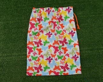 Butterflies medium drawstring bag, cotton drawstring bag for shoes, toys, gifts