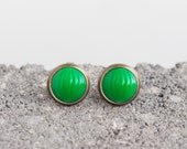 Kelly Green Fluted Cabochon Small Post Stud Earrings
