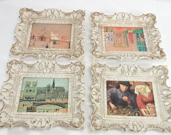 Vintage set of 4 frames with pictures on carboard