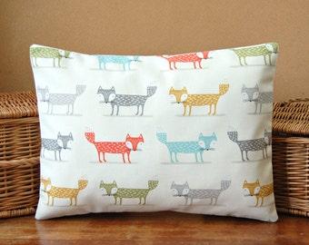 12 x 16 inch small orange blue grey mustard fox lumbar cushion cover, decorative pillow cover