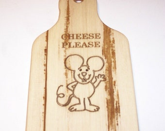 Laser Engraved Cheese Board,  Cutting Board Handcrafted from Ash Hardwood