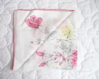Vintage white soft large linen handerchief, has yellow and pink roses, pink hem, ladies hankie, linen hankie, womens handkerchief