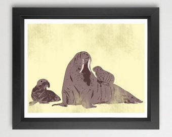 Walrus and babies -  Kids Art Prints, mother and baby walrus , damask design, nursery decorating ideas