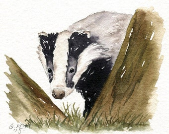 Watercolour sketch - Badger Through the Trees