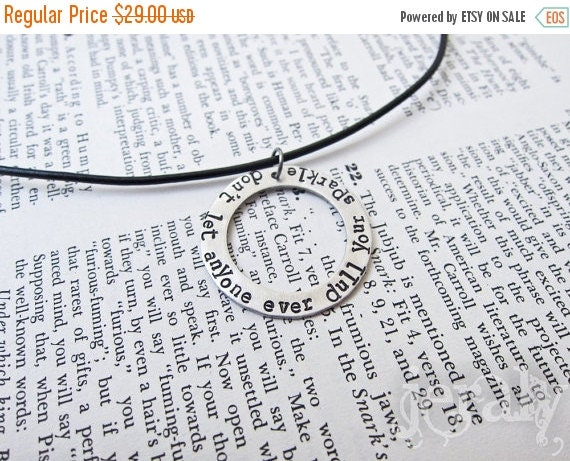 ON SALE Hand Stamped Large Washer Pendant With Leather Cord Necklace - Aluminum, Aluminium, Lightweight, Hypoallergenic
