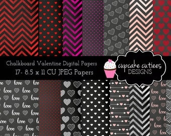 ChalkBoard Valentine Set  Digital  Papers Commercial use for paper, invites InStAnT DoWnLoAd