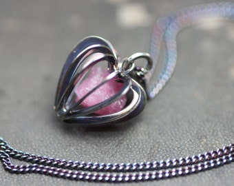 Pink Tourmaline Necklace Antiqued Silver Cage Rough Nugget Heart Pendant Rustic Jewelry