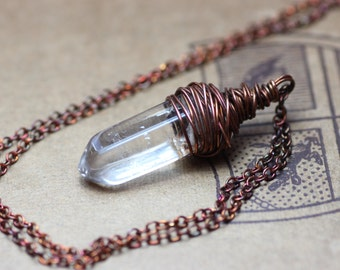 Quartz Crystal Necklace Quartz Point Necklace Antiqued Copper Wire Wrapped Raw Gemstone Rustic Jewelry