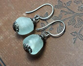 Recycled Glass Ghana Trade Bead Earrings Light Blue Earrings Rustic Jewelry