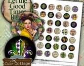 Mardi Gras Digital Collage Sheet 1 Inch Circles Images for Bottle Caps, Pendants, Glass Dome Pendants, Magnets - NOLA, Fleur De Lis, Music