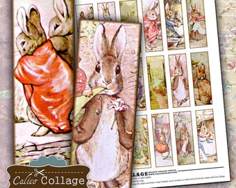 Story Book Bunnies, 1x3 Collage Sheet, Digital Collage, Beatrix Potter, Easter Images, Bunny Images, Microslide Images, Images for Pendants