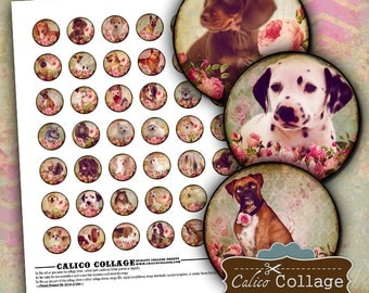 Dogs and Roses, Bottlecap Images, Collage Sheet, Printable Download, 1 Inch Circles, Puppy Collage Sheet, Dog Collage Sheet, 25mm Circles