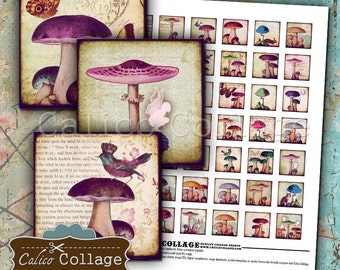 Mushrooms 1x1 Inch Inchies Digital Collage Sheet for Printing for Pendants, Bezel Settings, Magnets, Decoupage Paper, Mixed Media Art, Fairy