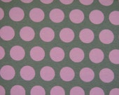 Grey with pink dots  1/2 yard American made knit