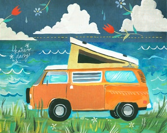 Daytrip | VW Bus | Nature Wall Art | Wanderlust | Katie Daisy | 8x10 | 11x14