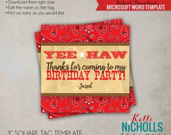 Western Cowboy Cowgirl Favor Tag, Cowboy Themed Party Favor Tags, Printable Instant Download  #B116B
