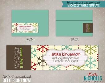 Snowflake Christmas Wrap Around Address Labels, Custom Holiday Address Stickers #C101