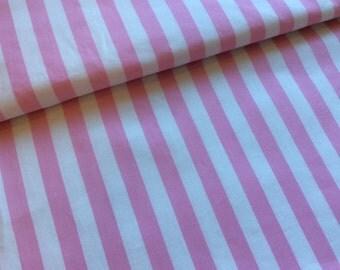 Pink and white stripe cotton from Paris Bebe Fabrics : 1/2 yard