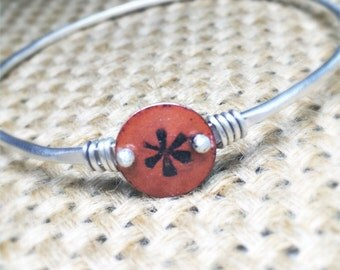 Flower Enameled Hand Stamped Copper Charm and Silver Bangle