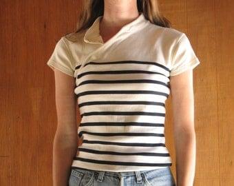 JEAN PAUL GAULTIER breton stripe cotton shirt, xs