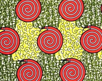 African Fabric 1/2 Yard Cotton Wax Print YELLOW GREEN CORAL Swirls