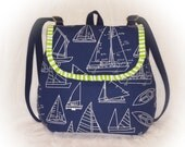 FREE Shipping USA Canada - TOOTLES Backpack Bag - Blue Sail Away Canvas Designer Fabric - - (Ready to Ship)