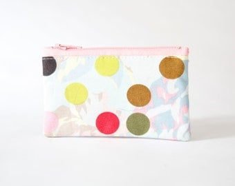 Small Zipper Pouch, Polka Dot Fabric, Pink, Coin Purse, Card Wallet, Gadget Case, Jewelry Case, Ready to ship, Gift idea