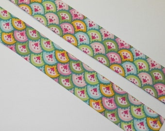 NECK COOLER Cool Tie with Turquoise Blue, Green, Yellow, and Pink Floral Fans Printed on Cotton Fabric
