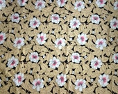 Vintage 1970s Fabric, 2.6 Yds Cotton Fabric by Stratford Mills, Large White Flowers with Neon Pink Centers on Brown and Tan Leaf Pattern
