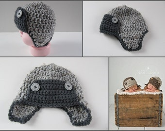 Gray Newborn Aviator Hat, Baby Boy Hat,  Newborn Photography Prop, Crochet Baby Hat, Fits Most Newborn Babies, Color: Gray Marble & Charcoal