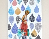 Original Paper Collage on Book Cover - 5x7 - Security Envelopes - FREE SHIPPING