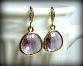 Gold Earrings, Smokey Lavender Faceted Glass on 16k Gold-Plated Crystal Earwires, Beautiful