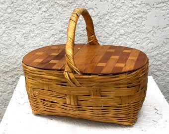 Wooden Picnic Basket with Double-Hinged Woven Wood Lid, Woven Wood Lid