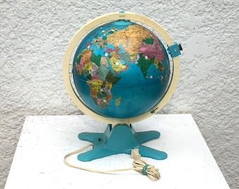 Vintage Fisher Price Illuminated Globe, Educational, 3D ViewFinder, Night Light, Pre-1991, Globe Lamp