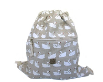 swan backpack cotton linen