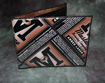 Bi-Fold Wallet from Recycled Mustang Brewing Amber Lager Beer Labels
