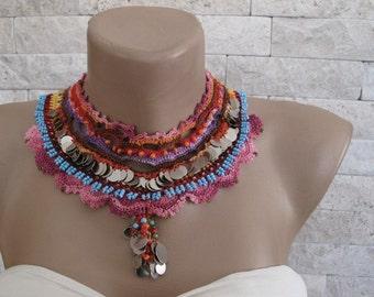 Statement Necklace- Bead crochet, Degrade Thread, Orange, Blue Bead, Seed Bead, Crocheted Cotton Lace. Metal Sequins, OOAK