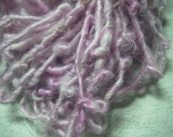 Handspun Hand Dyed Soft Curly Bulky Cotswold Wool Art Yarn in Lavender Pink by KnoxFarmFiber for Knit Weave Felt Crochet
