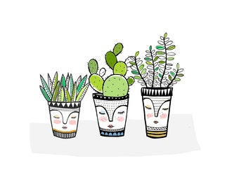 3 little pots print