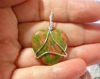 Unakite Heart Amulet