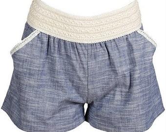 Denim Lace Chambray Coachella Shorts