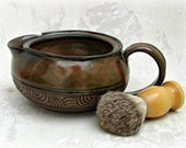 Hand Carved Shaving Scuttle Mug in Rich Chocolate  Brown