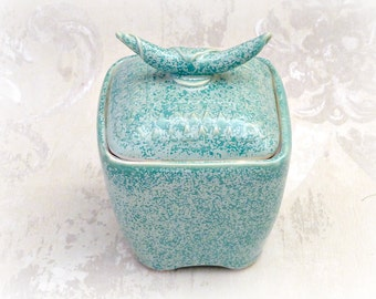 Second- Decorative Lidded Jar or Pet Urn in Soft Speckled Aqua