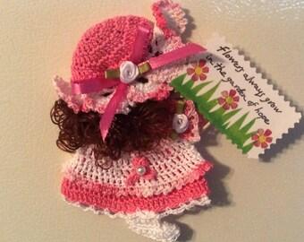 Crochet Kitchen Fridgie Magnet Cancer Hope Doll