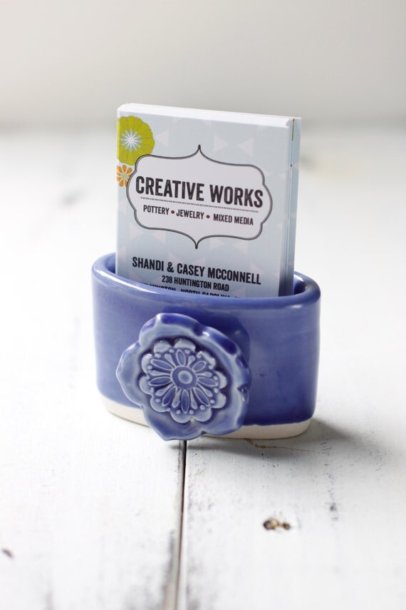 periwinkle vertical business card holder