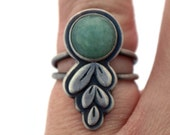 Leaf Ring, Sterling Silver and Green Aventurine Ring, Gemstone Jewelry, Oxidized Silver Botanical Ring Size 6.25, Bohemian Style