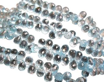 AAA Swiss Blue Topaz, Faceted Teardrops, Swiss Blue Topaz Beads Briolettes, SKU 1227A
