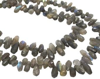 Labradorite Briolettes, Labradorite Beads, Faceted Teardrops, SKU 4259A