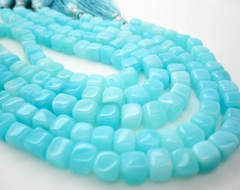 Peruvian Blue Opal Beads, Peruvian Opal Cubes, Wholesale Opal, 6mm x 7mm, Aqua Blue, Wholesale Peruvian Opal, SKU 4944